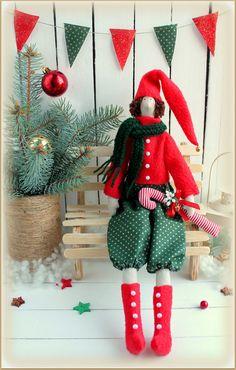 Christmas Elf cloth doll Tilda rag doll-gift for от MyShopDolls