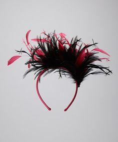 Black & Fuchsia Feather Headband by Giovannio