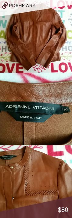 "Women Adrienne Vittadini Vera Pelle Leather Jacket In real good condition 18.5""armpit to armpit. 22.5""from top to bottom. 19""armpit to end of sleeve. Made In Italy. .. Adrienne Vittadini Jackets & Coats"