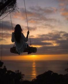 Secret swings above Scripps Pier in La Jolla, California.: