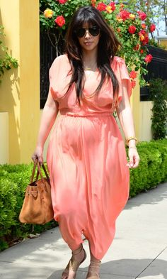 Kim Kardashian Dresses Down In A Floaty Coral Jumpsuit Out In LA, 2013