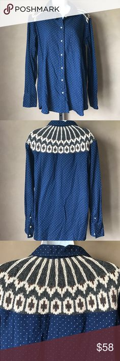 Free People Button Up Knit Detail Size Medium NEW Free People blue button top with polka dot print, long sleeves, contrast knit yoke, curve hem, 1 front pocket, Fabric: body 100% cotton, contrast 50% wool 50% nylon Hand was cold Size: Medium NEW F193991P Free People Tops Button Down Shirts