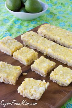 Sugar Free Low Carb Lime Coconut Bars 3/4 cup coconut flour 1/4 cup sesame flour or almond flour 1 1/4 cup Swerve sweetener, divided 1/4 teaspoon sea salt 1/4 cup coconut oil, room temperature 4 eggs 1/2 cup lime juice 1 tablespoon lime zest 1/2 teaspoon coconut stevia 1/4 cup unsweetened coconut flakes