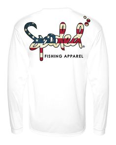 PERFORMANCE LONG SLEEVE WHITE WITH SPOOLED AMERICAN FLAG LOGO SPF-30 Available at SpooledFishingApparel.com  #spooled #fishing #apparel #americanflag