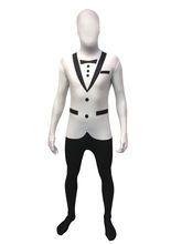 Weisser Anzug Morphsuit weiss-schwarz, aus unserer Kategorie Morphsuits. Diesem gesichtslosen Spion im weißen Anzug kann kein feindlicher Agent das Wasser reichen! Mit dem Second Skin Kostüm können Sie in geheimer Mission die nächste Faschingsparty unsicher machen. Beweisen Sie der Dame Ihrer Wahl, dass Sie auch die Verführungstechniken eines Spions beherrschen ...