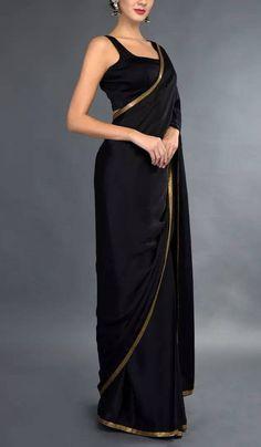 Trendy Sarees, Stylish Sarees, Ellie Saab, Saris Indios, Black Saree Blouse, Black Saree Plain, Black Kurti, Plain Black, Indian Outfits