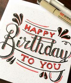 Happy birthday! Deze en andere handgeletterde kaarten laat je maken door ilse@kortenblondig.nl