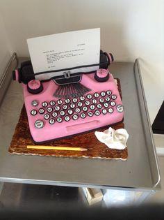 Typewriter fondant cake. Valentines day