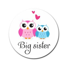 Cute Owls Big Sister Round Rubber Coaster White Round Rubber Coaster |... (£4.87) ❤ liked on Polyvore featuring home, kitchen & dining, bar tools, rubber drink coasters, round coasters, owl coasters, rubber coasters and white coasters
