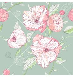 Seamless pastel colored pattern with peony flowers vector by Alchena on VectorStock®