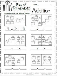 Pile of Presents Addition Math Worksheet