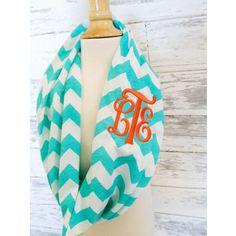 chevron monogrammed scarf