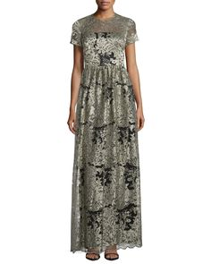 Short-Sleeve Floral Lace Gown, Black/Gold - David Meister