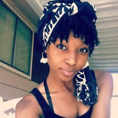 Short locs with a cute scarf