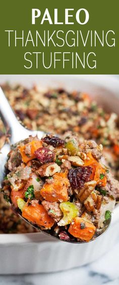 Gluten-free and Paleo Thanksgiving stuffing! Sweet potatoes, ground pork, and onions with a crunchy nut topping. Make-ahead!