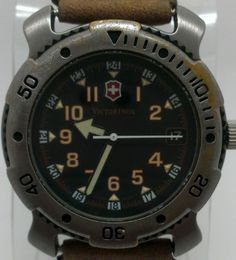 #Victorinox Mens Analog Quartz Watch w/ Date Black & Brown Leather Band $56.99