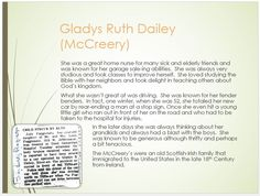 Dailey Family Tree - page 40 Gladys Ruth McCreery All about grandma.