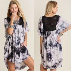 DANIELLA tie dye boho midi dress - GREY Super fun! Bellanblue Dresses Midi