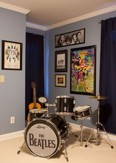 Great boy room paint colors sw 7075 web gray and sw 7072 for Beatles bedroom ideas