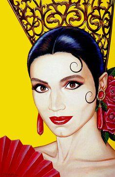 Spanish Girls, Spanish Art, Art Sketches, Art Drawings, Spanish Dancer, Hispanic Culture, Mexico Art, Samurai Art, Face Art
