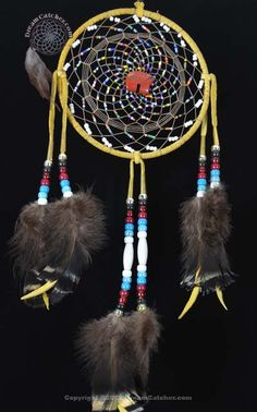 6 Inch Beaded Navajo Dream Catcher With Brown Spider and Garden Spider Weave with  Indian Jasper Bear