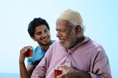 REEL FLAVOURS: Dulquer Salmaan and Thilakan play the lead roles in 'Ustad Hotel.'