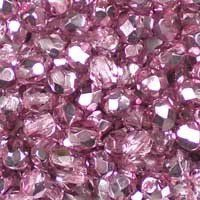 Crystal Flamingo Pink Metallic Ice 4mm top-quality Czech fire-polished facetted glass beads. Very sparkly: part coloured crystal, part coloured metallic finish. UK seller.