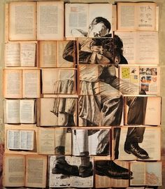 Rome-based Russian artist Ekaterina Panikanova uses open-faced books, carefully aligned with one another, as a large canvas for each of her paintings in a series titled Errata Corrige. Using old books and various antiquated texts, Panikanova proceeds to a Art Du Collage, Collage Making, Collage Book, Collage Photo, Illustration Arte, Illustrations, Beautiful Collage, Beautiful Paintings, Deep Paintings