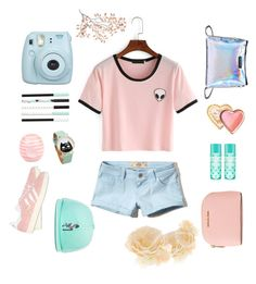 """""""Salad days"""" by amu911 ❤ liked on Polyvore featuring Hollister Co., adidas Originals, Fujifilm, River Island, MICHAEL Michael Kors, Too Faced Cosmetics, Stussy and Accessorize"""