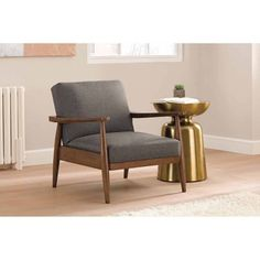 Better Homes and Gardens Mid-Century Chair Wood with Linen Upholstery…