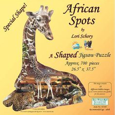 """African Spots 700 Piece Shaped Puzzle: This 700 piece jigsaw puzzle by Lori Schory assembles into the shape of a giraffe and contains 18 hidden images among the giraffe's spots. The puzzle measures 26 1/2"""" x 37 1/2"""" when complete.  $19.99  http://www.calendars.com/Wildlife/African-Spots-700-Piece-Shaped-Puzzle/prod201100012056/?categoryId=cat00347=cat00347#"""