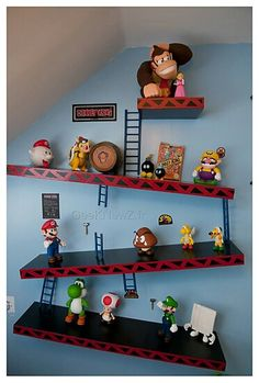 Super Mario, Friends and Family!. #Wall #Shelf #Unit p#Donkey #Kong #Nintendo #Game #Characters. Very cool!