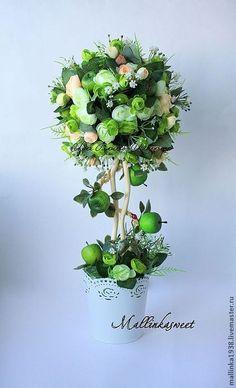 """Купить Топиарий, дерево счастья """"Яблочный Фреш"""" - зелёный, топиарий, топиарий дерево счастья, Топиарии"""