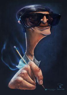 Caricatura de Chico Xavier. Selecionada para o 40º Salão Internacional de Humor de Piracicaba.