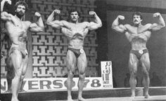 Mr Universe 1978 - Front Double Biceps Jusup Wilkosz, Reid Schindle and a 300 perfect score Mike Mentzer.