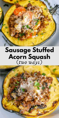 Sausage Stuffed Acorn Squash - spicy Italian sausage is the perfect filling for delicious and tender acorn squash. Topped with cheese and broiled until crispy and melted, this is the perfect Fall recipe. Acorn Squash Recipe Sausage, Acorn Squash Recipes Healthy, Vegetable Recipes, Healthy Recipes, Recipe For Acorn Squash Casserole, Stuffed Squash Recipes, Acorn Squash Baked, Sausage Recipes, Pork Recipes