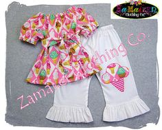 Custom Boutique Girls Clothing  Yummy Pink Ice Cream Peasant Top White Ruffle Pant Outfit Set 3 6 9 12 18 24 month 2T 2 3T 3 4T 4 5T 5 6 7 8