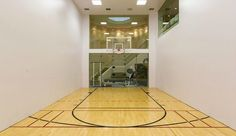 Unique indoor basketball/racquetball court within this amazing square foot Westlake Village mansion. Million dollar pool, private tennis court, home Home Basketball Court, Louisville Basketball, Basketball Room, Basketball Shoes, Basketball Uniforms, Baylor Basketball, Sports Court, Basketball Tickets, Baseball
