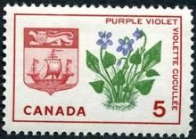 Canada Stamp -    (1965) Coat of Arms and Provincial flower: New Brunswick: Purple Violet