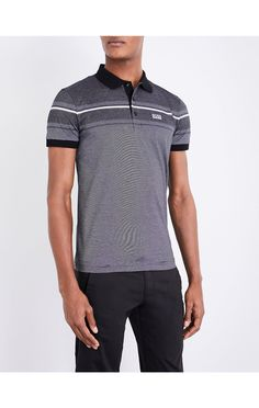 BOSS GREEN - Slim-fit striped cotton-jersey polo shirt | Selfridges.com