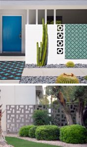 """Block tile walls (also referred to as """"breeze blocks"""") used on the exteriors of mid century modern homes. Breeze Block Wall, Casa Top, Tableaux Vivants, Mid Century Exterior, Modern Landscape Design, Modern Exterior, Ficus, Mid Century House, Mid Century Modern Design"""