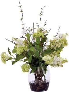 Cream / Green Mix Waterlike Faux Flower Arrangements, Faux Flowers, Glass Vase, Green, Cottage, Projects, Home Decor, Deco, Fake Flowers