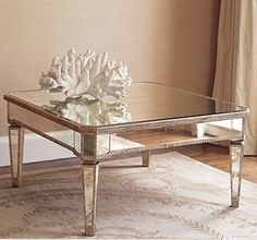 52 Classic Glass Coffee Table Design Ideas Make Your Living Room Elegant Looks Mirrored Sofa Table, Mirrored Furniture, Table Furniture, Home Furniture, Glass Furniture, Entry Furniture, Royal Furniture, Furniture Movers, Arquitetura
