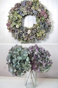 Beautiful, colorful hydrangeas are amongst the most popular flowers to be used in dried floral arrangements. The most important step in preserving and drying hydrangeas is choosing the right time. Hydrangea Garden, Hydrangea Wreath, Floral Wreath, Deco Floral, Arte Floral, Garden Care, Dry Garden, Diy Wreath, Wreaths