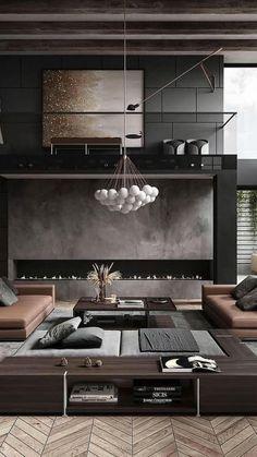 Home Room Design, Dream Home Design, Modern House Design, Modern Interior Design, Contemporary Living Room Designs, Modern Living Room Design, Natural Modern Interior, Loft House Design, Big Modern Houses