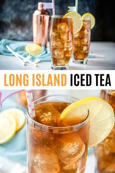 Long Island Iced Tea made with 5 types of liquor, sweet & sour, and a splash of cola gives this cocktail its deceptive look and name. So tasty but you'll only need one! Always a fun drink with friends! Iced Tea Cocktails, Cocktail Drinks, Sweet Tea Cocktail, Sweet Cocktails, Sweet Tea Vodka, Easy Cocktails, Cocktail Recipes, Iced Tea Recipes, Alcohol Drink Recipes
