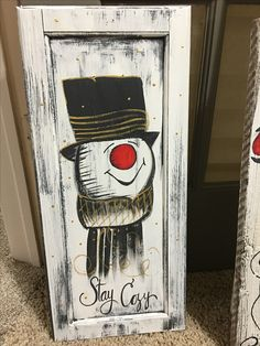 Most Popular Winter Crafts in Our Website - Outdoor Click Christmas Wood Crafts, Snowman Crafts, Christmas Signs, Rustic Christmas, Christmas Art, Christmas Projects, Winter Christmas, Holiday Crafts, Christmas Decorations