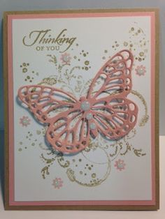 My Creative Corner!: A Timeless Textures Wetlands Botanical Blooms and Butterfly Thinlits Thinking of You Card