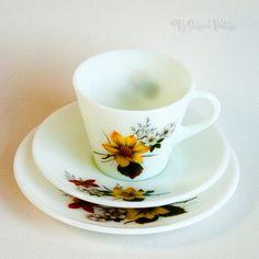 Vintage Retro 1960s JAJ Pyrex Milky Opaque Glass Cup Saucer Plate Trio Autumn Glory Floral Design