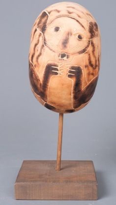 Folk Art Peruvian Carved Gourd on Stand : Lot 152